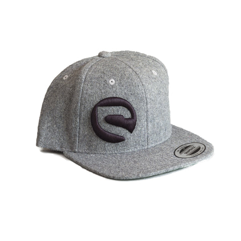 Classic Melton Wool Snapback Hat - Heather Grey