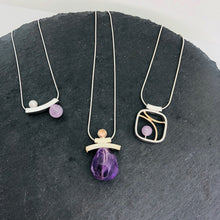 Load image into Gallery viewer, Balanced Pearl and Amethyst Slider Necklace
