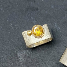 Load image into Gallery viewer, Citrine Bezel Ring Size 8