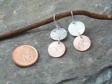 Load image into Gallery viewer, Double Scribbled Silver and Copper Earrings