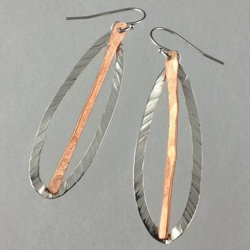 Open Leaf and Copper Dangle Earrings