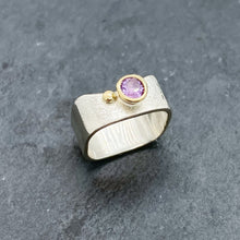 Load image into Gallery viewer, Amethyst Bezel Ring Size 5.5