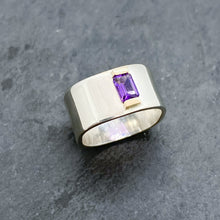 Load image into Gallery viewer, Amethyst Channel Ring Size 8