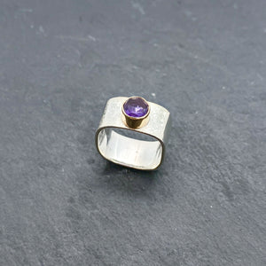 Amethyst Wide Stacking Ring