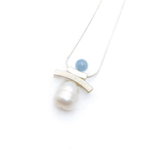 Load image into Gallery viewer, Inukshuk Aquamarine Pearl Necklace