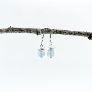 Mini Aquamarine Acorn Earrings