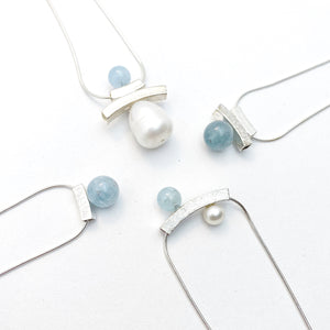 Inukshuk Aquamarine Pearl Necklace