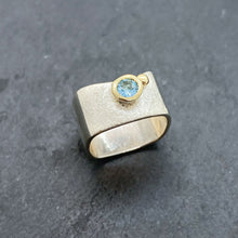 Load image into Gallery viewer, Blue Topaz Bezel Ring Size 7.5