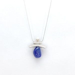 Balance Inukshuk Pearl and Tanzanite Necklace
