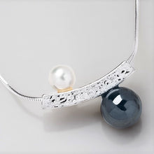 Load image into Gallery viewer, Yin Yang Pearl and Hematite Slider Necklace