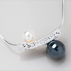 Yin Yang Pearl and Hematite Slider Necklace