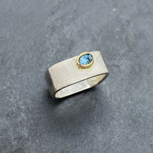 Load image into Gallery viewer, Blue Topaz Bezel Ring Size 8