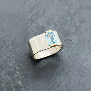 Blue Topaz Bridge Ring Size 6.5