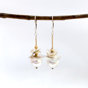 Brushed Petals Pearl Earrings