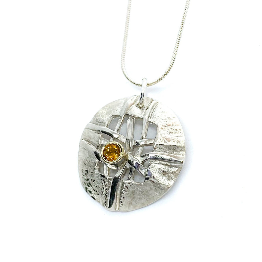 Woven Small Round Disc with Citrine Necklace