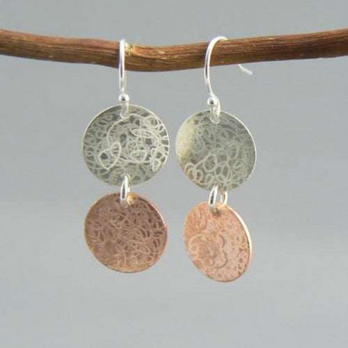 Double Scribbled Silver and Copper Earrings