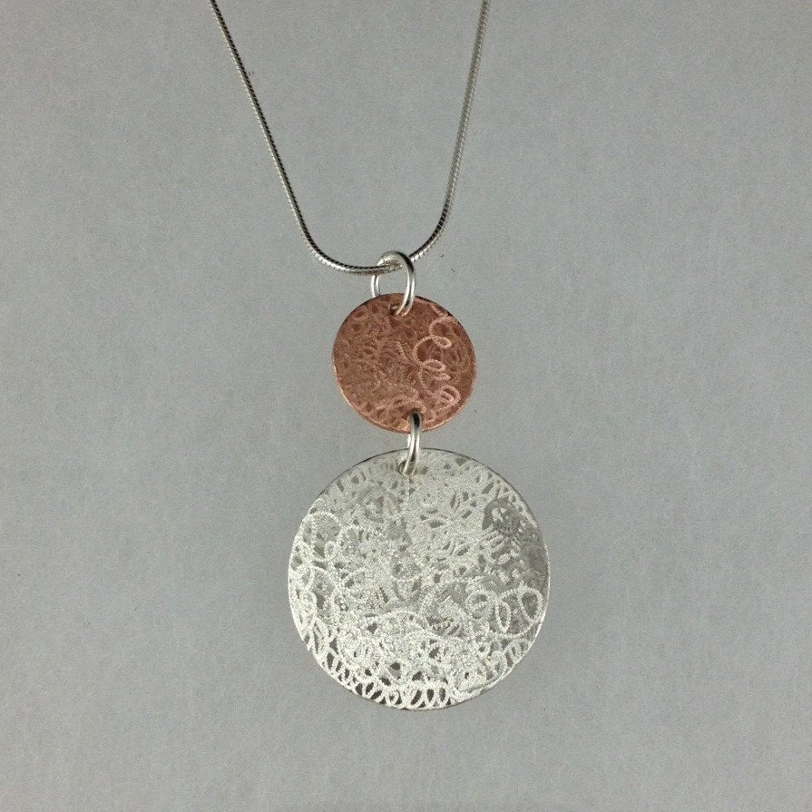 Double Scribble Silver and Copper Necklace