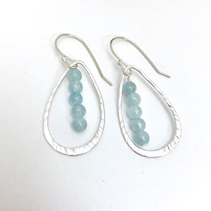 Hammered Open Leaf Earrings with Aquamarine
