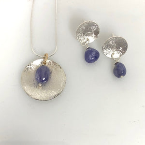 Balanced Scribbled Shell with Tanzanite Necklace