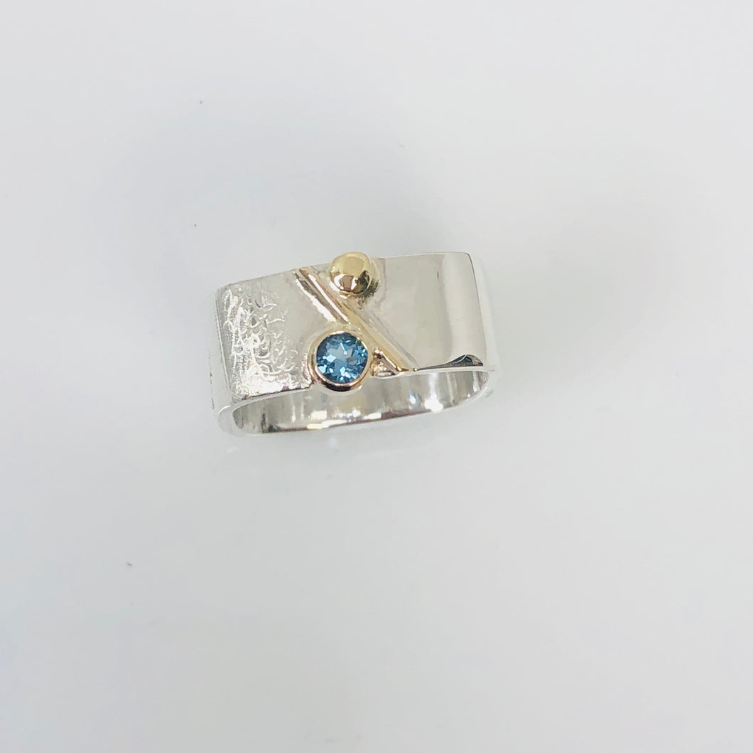 Unique Large Square Stacking Silver & Gold Blue Topaz Ring
