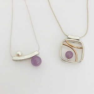 Balanced Pearl and Amethyst Slider Necklace