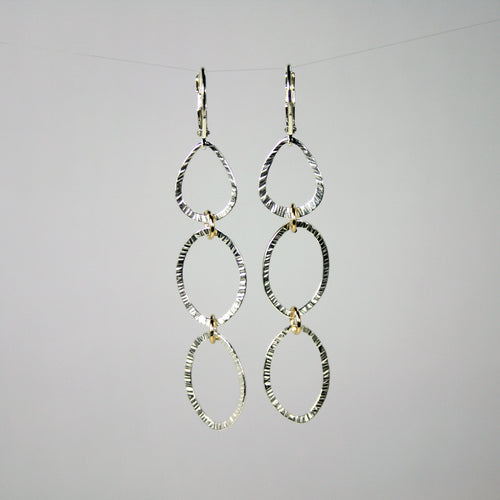 Hammered Triple Drop Earrings