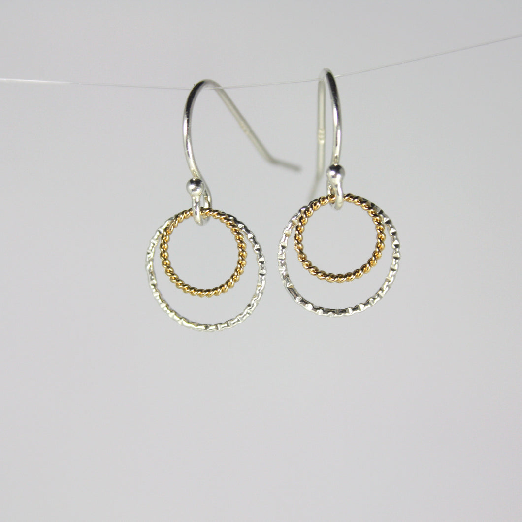 Sterling Silver and Gold Double Rings Short Earrings