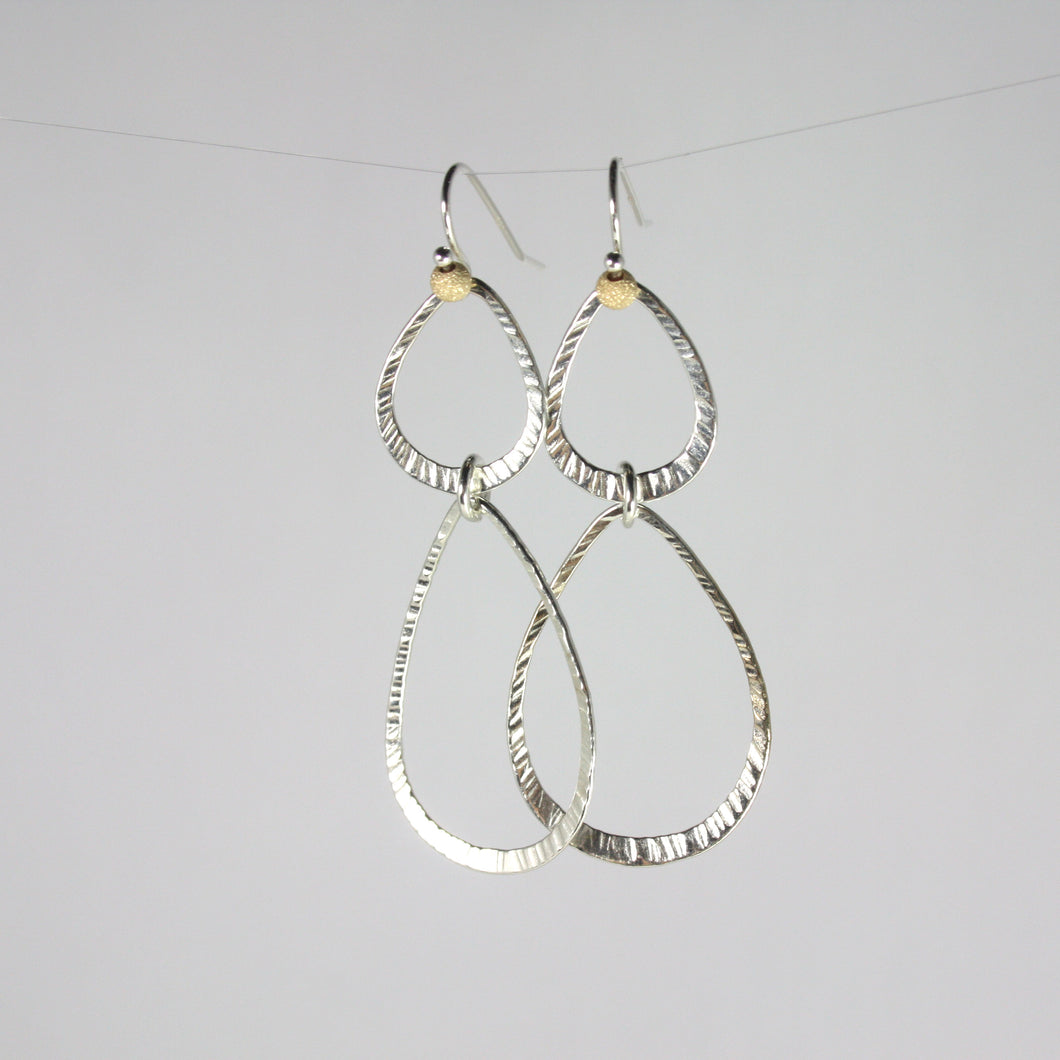 Double Hammer Leaf Drop Dangle Earrings