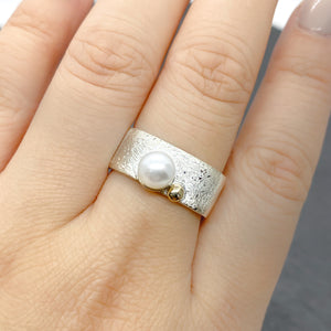 Wide Pearl Stacking Ring