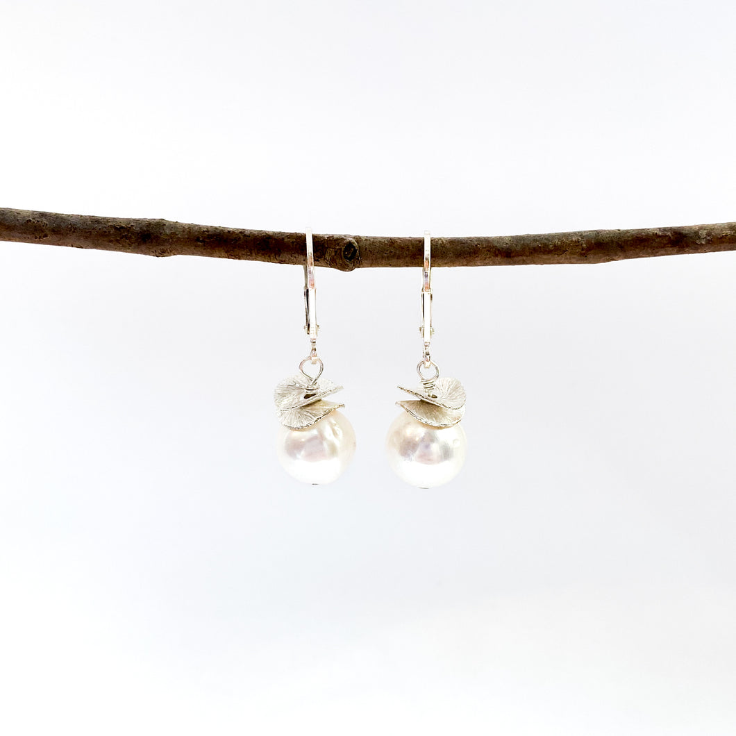 Acorn White Pearl Earrings