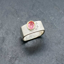 Load image into Gallery viewer, Pink Tourmaline and Diamond Bezel Ring Size 7