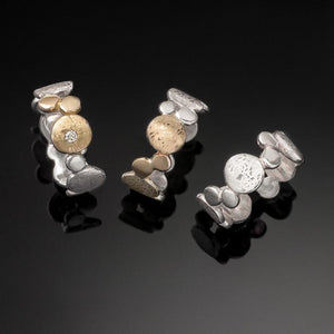 Silver Pebble Scribbled Rings