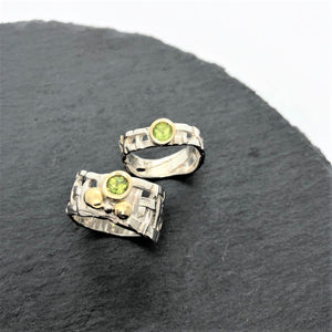 Skinny Woven Basket Ring with Peridot