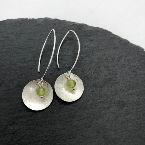 Balanced Scribbled Shell with Peridot Earrings