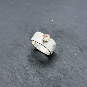 Pink CZ Wide Stacking Ring