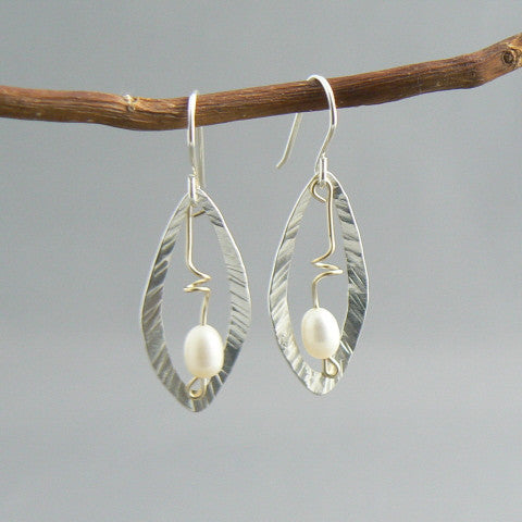 Hammered Open Leaf with Gold Wire and Pearl Earrings