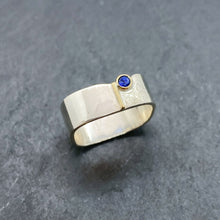 Load image into Gallery viewer, Blue Sapphire Bezel Ring Size 10
