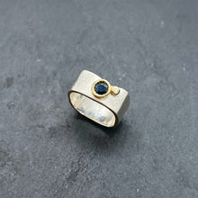 Load image into Gallery viewer, Blue Sapphire Bezel Ring Size 6