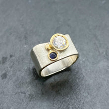 Load image into Gallery viewer, Blue Sapphire and CZ Diamond Bezel Ring Size 8