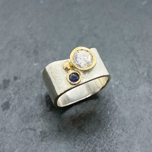 Blue Sapphire and CZ Diamond Bezel Ring Size 8