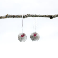 Load image into Gallery viewer, Balanced Scribbled Shell with Ruby Earrings