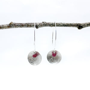 Balanced Scribbled Shell with Ruby Earrings