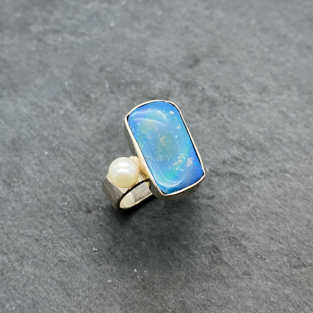 Blue Boulder Opal Ring Size 9