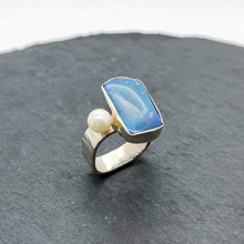 Load image into Gallery viewer, Blue Boulder Opal Ring Size 9