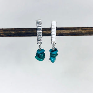 Hammered Silver Birch Bark Turquoise Stud Earrings