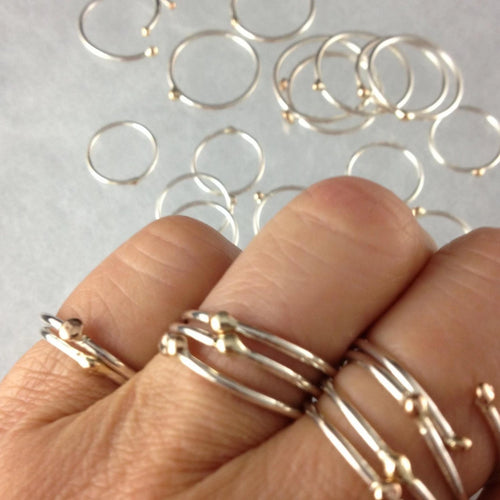 Skinny Sterling Silver and 14kt Gold Dot Rings