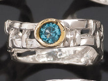 Load image into Gallery viewer, Skinny Woven Basket Blue Topaz Bezel Ring Size 6.5