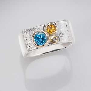Stacking Blue Topaz Citrine Diamond Ring