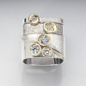 Stacking Diamond Rings Skinny Med Pave Large 3 Blossom