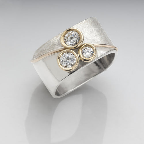 Stacking Tri-Blossom Diamond Ring